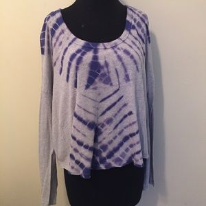 Free People Cropped Tie Dye Long Sleeved Top